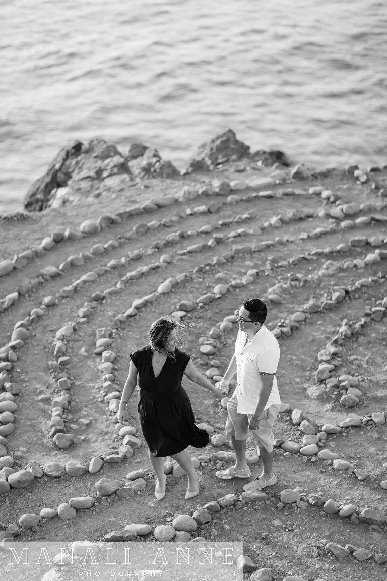 Land's End Labyrinth engagement photos, proposal photographer, Mile Rock Beach engagement photos