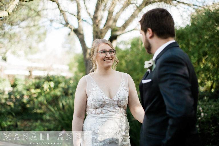 Outdoor Art Club Wedding first look