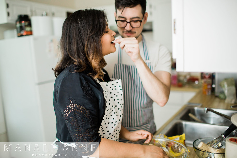 making cookies: San Francisco engagement session at home