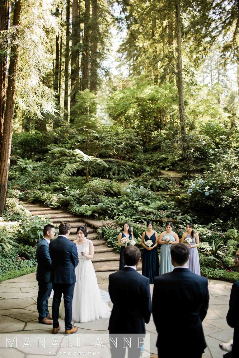 sharing vows at Nestldown Wedding Ceremony, Los Gatos, Santa Cruz