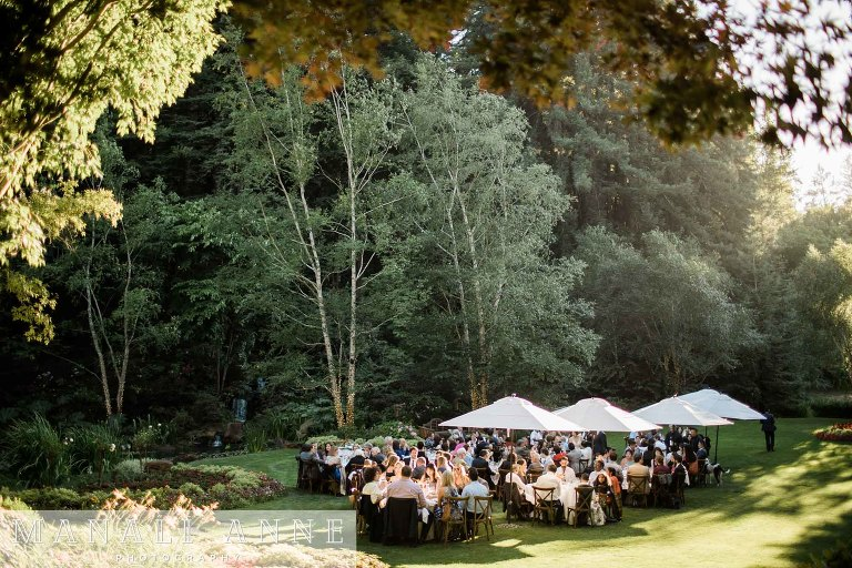 Nestldown Wedding Reception on lawn, Los Gatos, Santa Cruz